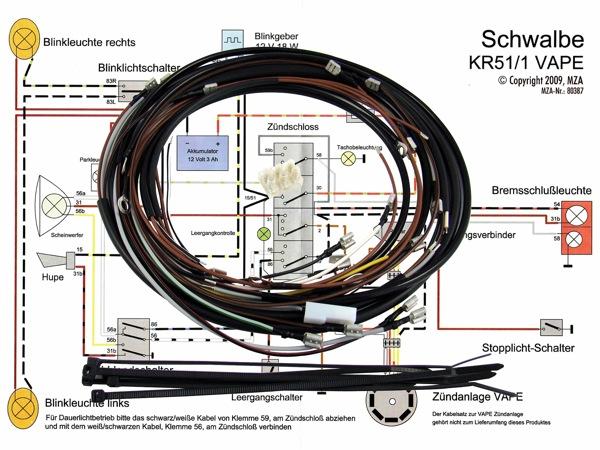 kabelbaumset f r simson kr51 1 mit 12v vape z ndung inkl. Black Bedroom Furniture Sets. Home Design Ideas