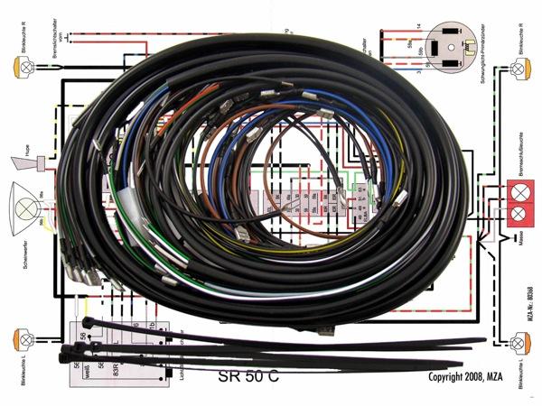 simson kabelbaumset sr50 c inkl schaltplan mza ebay. Black Bedroom Furniture Sets. Home Design Ideas