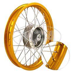 Speichenrad 1,5x16 Zoll - Alufelge, gold + Chromspeichen