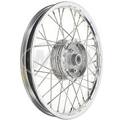 Speichenrad 1,5x16 Zoll Alufelge Poliert, Edelstahlspeichen, inkl. Felgenband und Dichtkappe